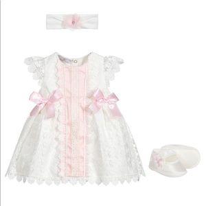 BEAU KID Ivory & Pink Dress Set - 0-3 month